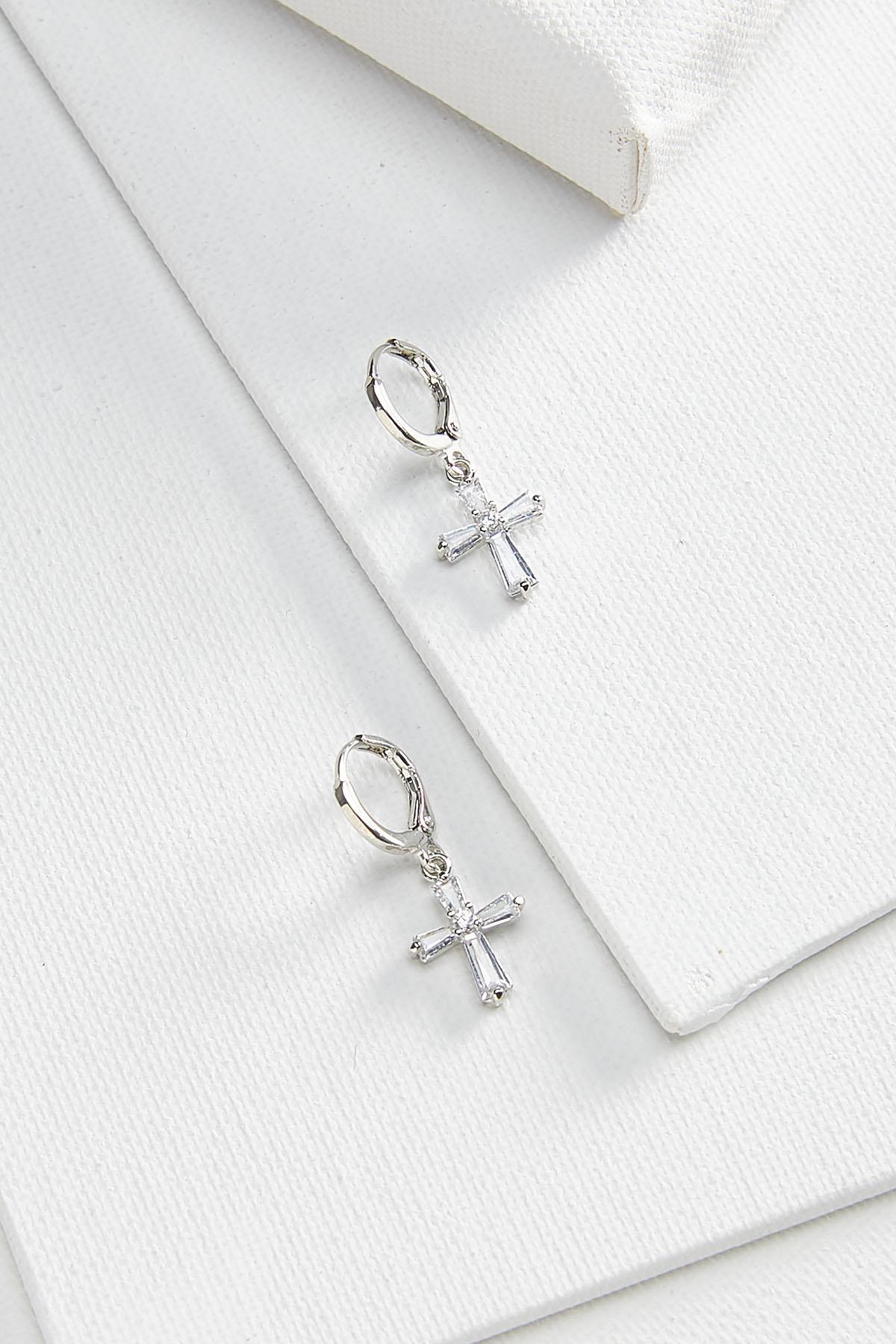 Sparkly Cross Hoop Earrings