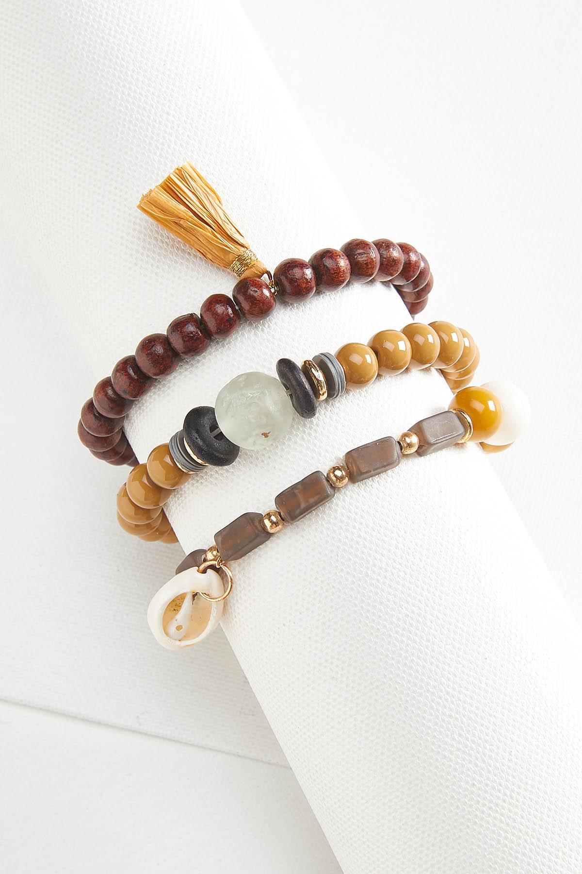Brown Beaded Bracelet Set