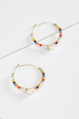 bold beaded hoop earrings