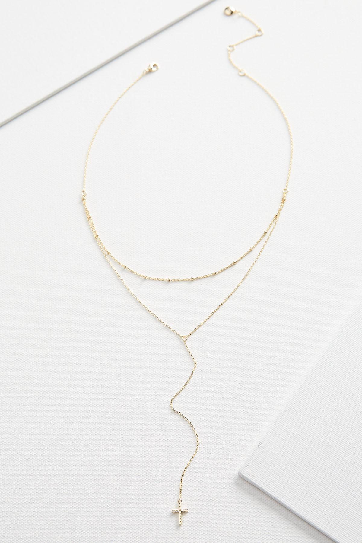 Layered Dainty Cross Necklace