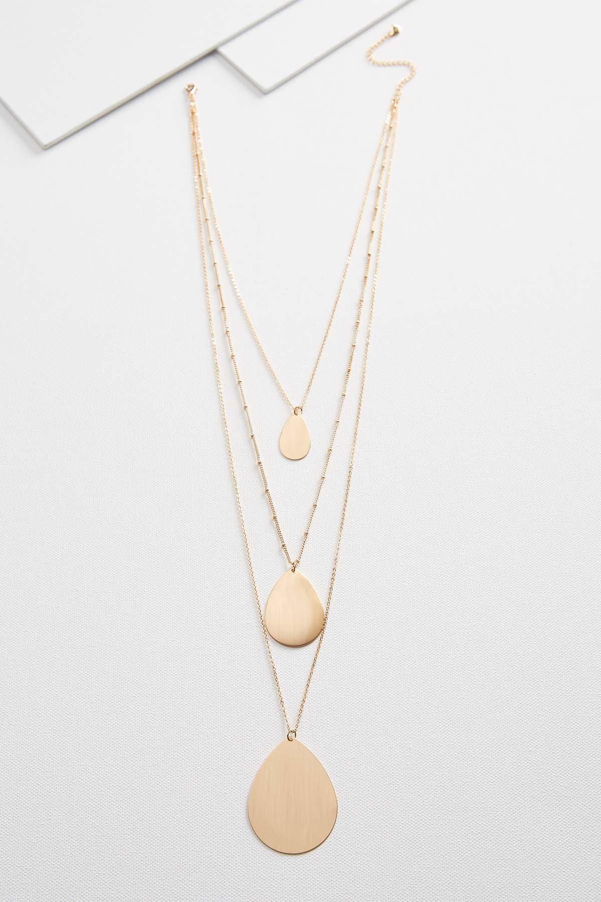 Brushed Tear Pendant Necklace