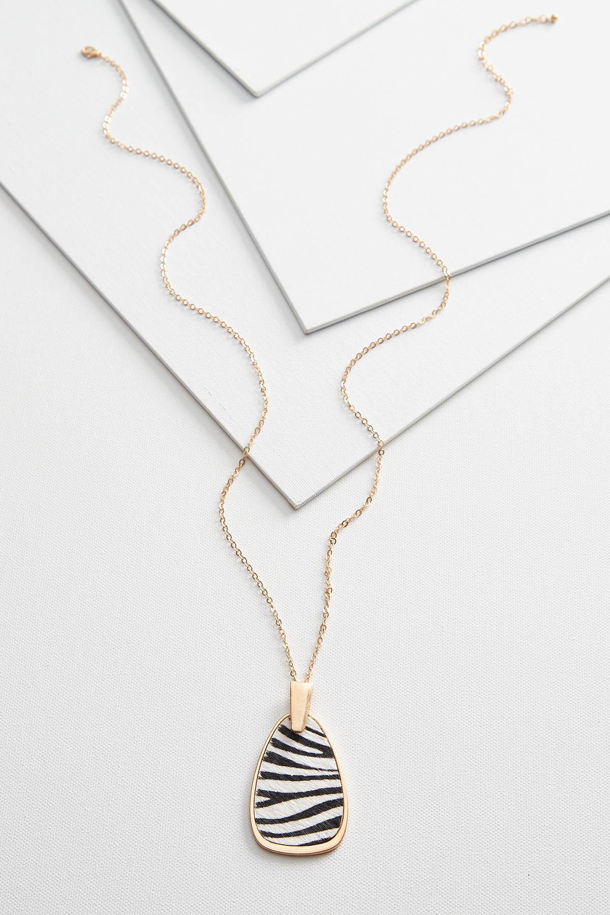 Zebra Pendant Necklace