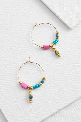 charm bead hoop earrings