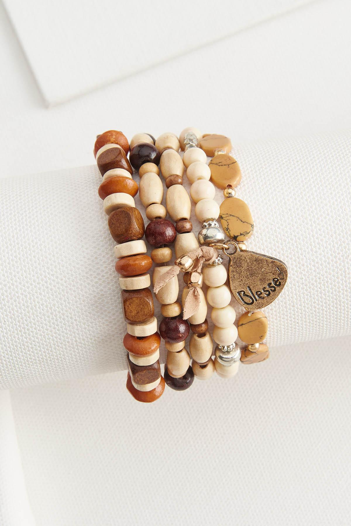 Wood Beaded Bracelet Set