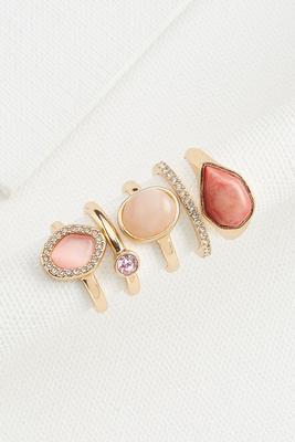 pink gem ring set