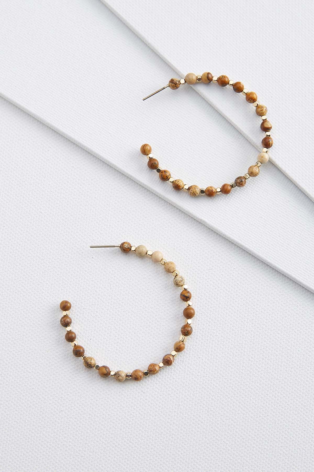 Beaded Natural Hoop Earrings