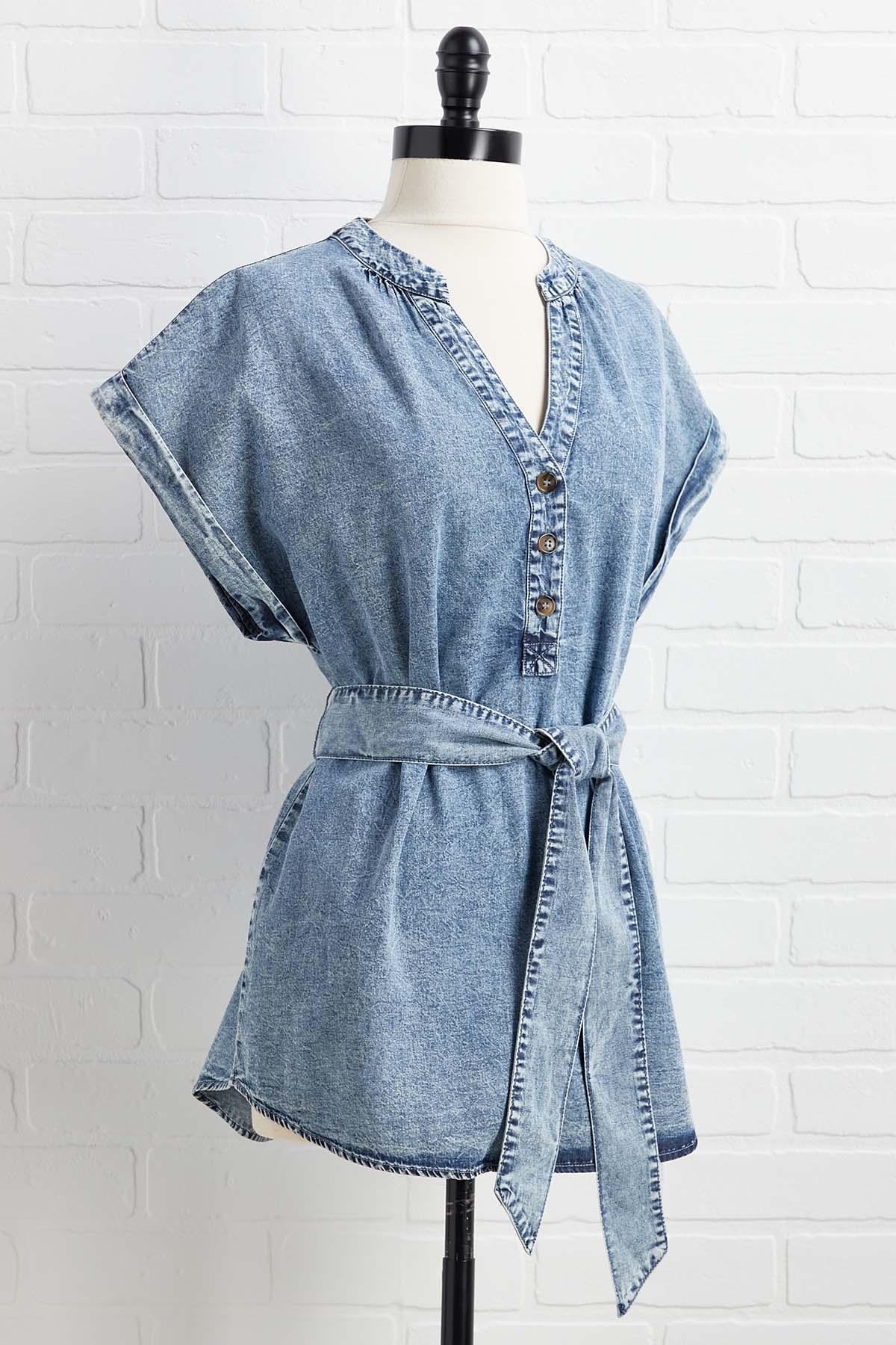 Blue Jean Babydoll Top