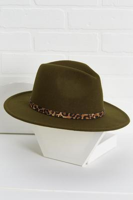 olive leopard hat
