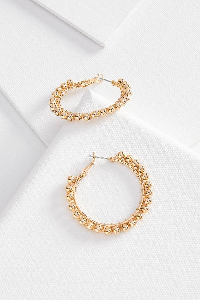 Golden Beaded Hoop Earrings
