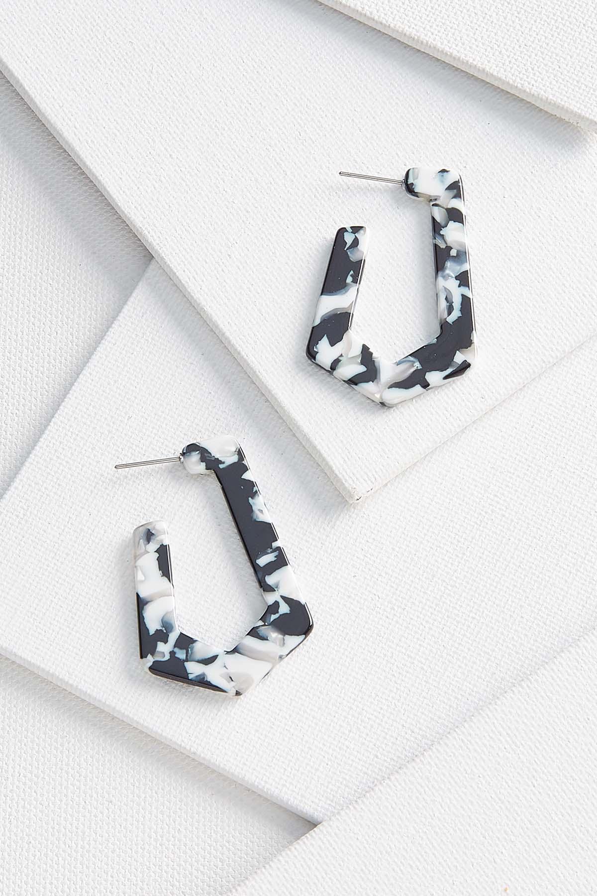 Grayscale Hoop Earrings