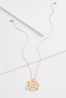 b scroll gold necklace