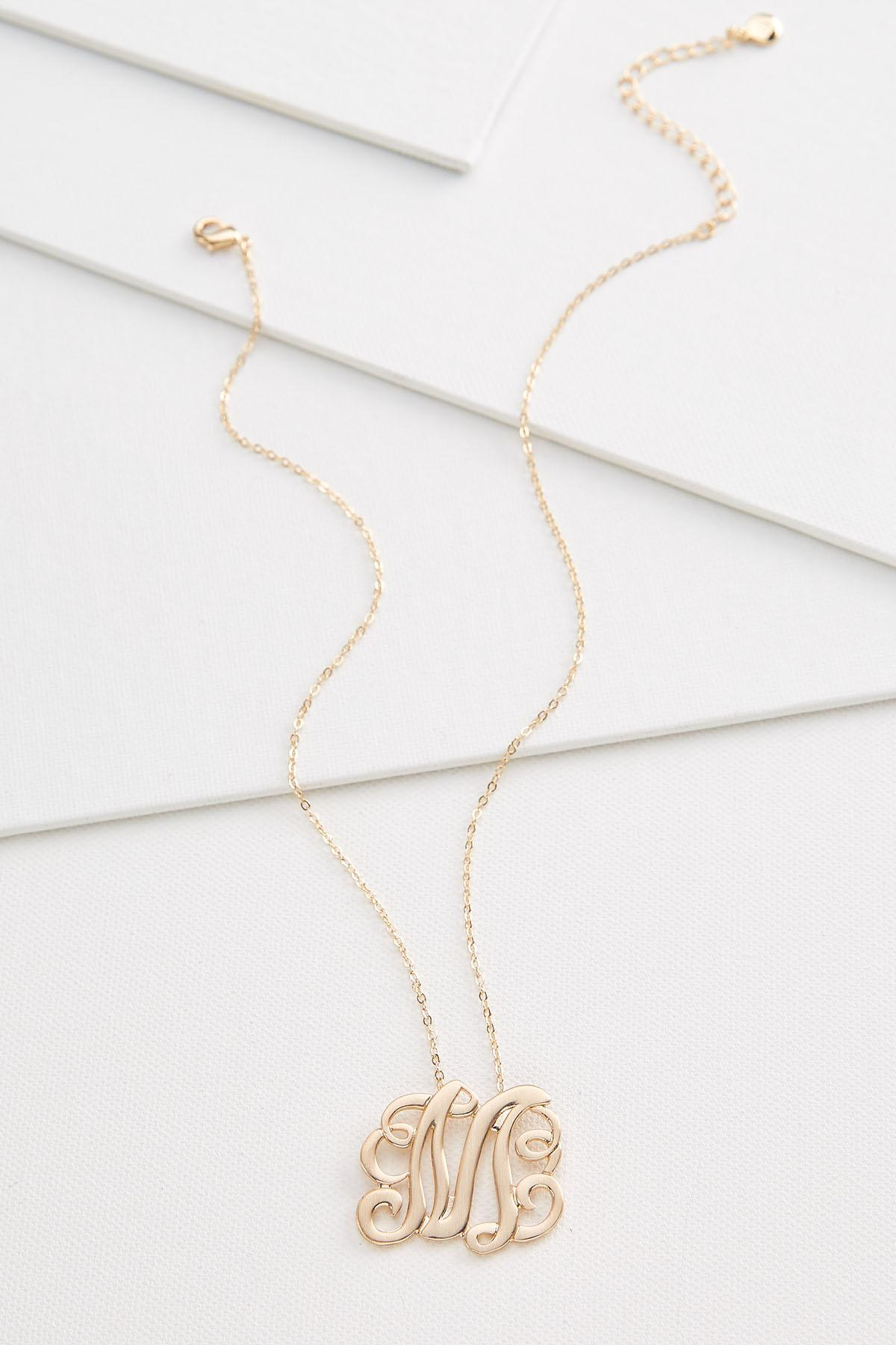 M Scroll Gold Necklace