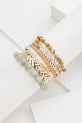 gold and stone bracelet set