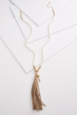 pearl and suede necklace