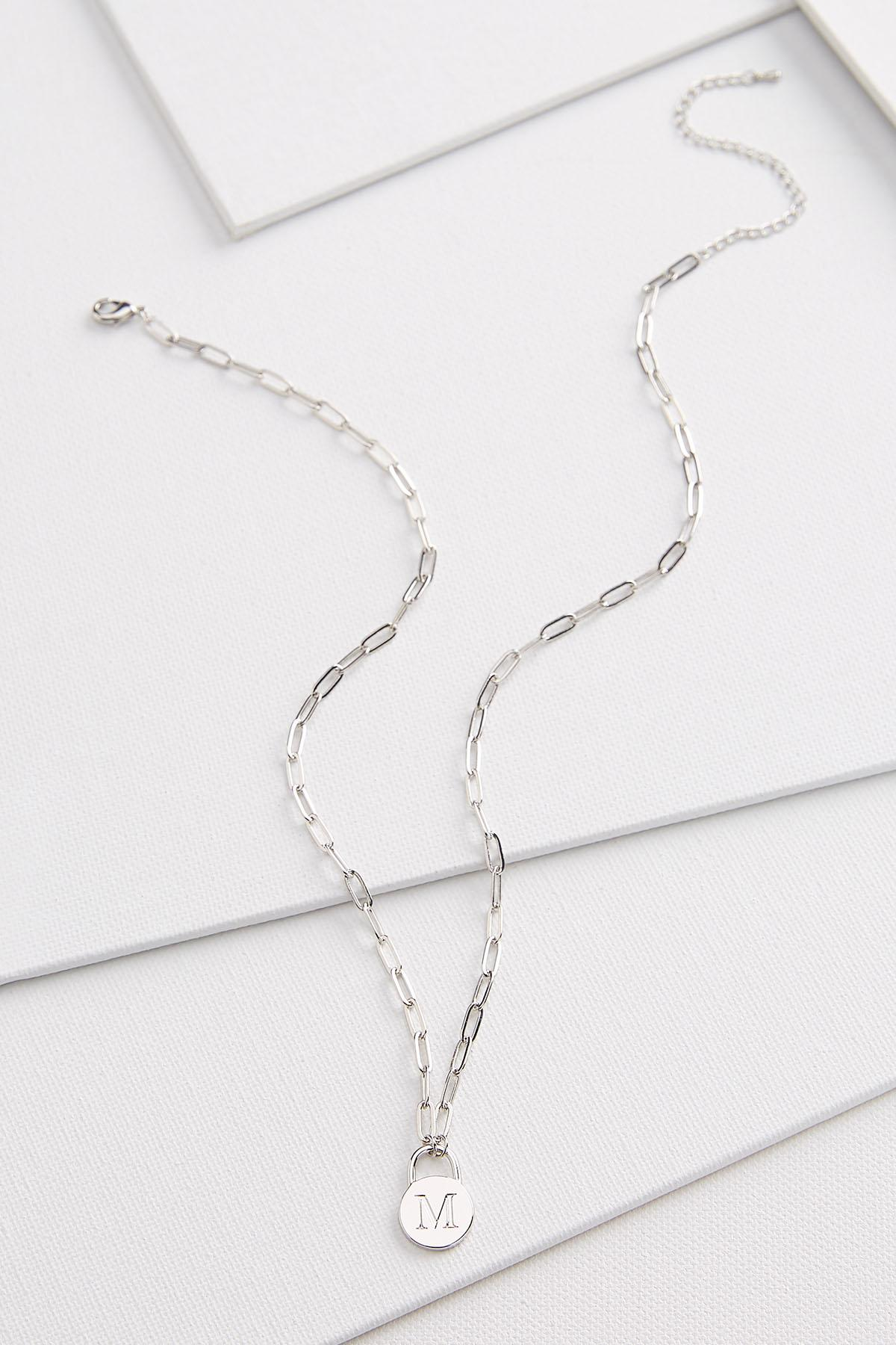 Silver M Necklace