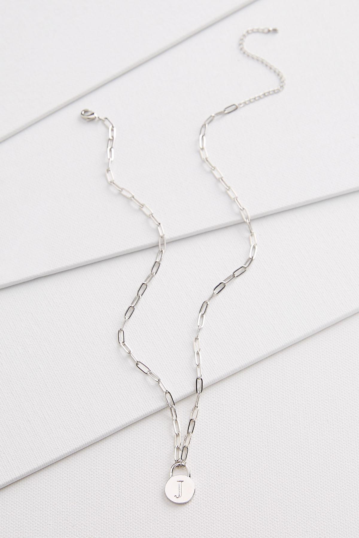 Silver J Necklace