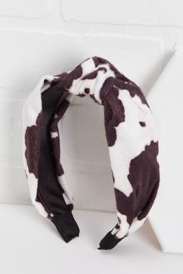 spotted cow print headband