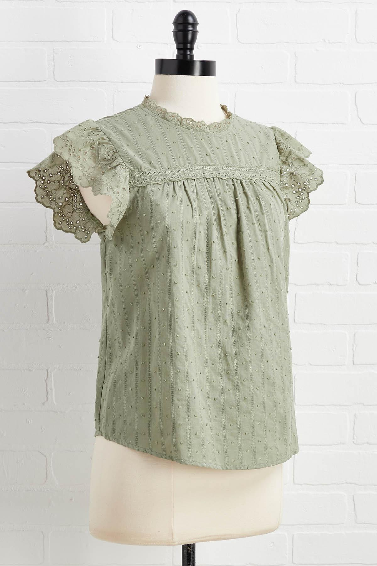 Caught In My Eyelet Top