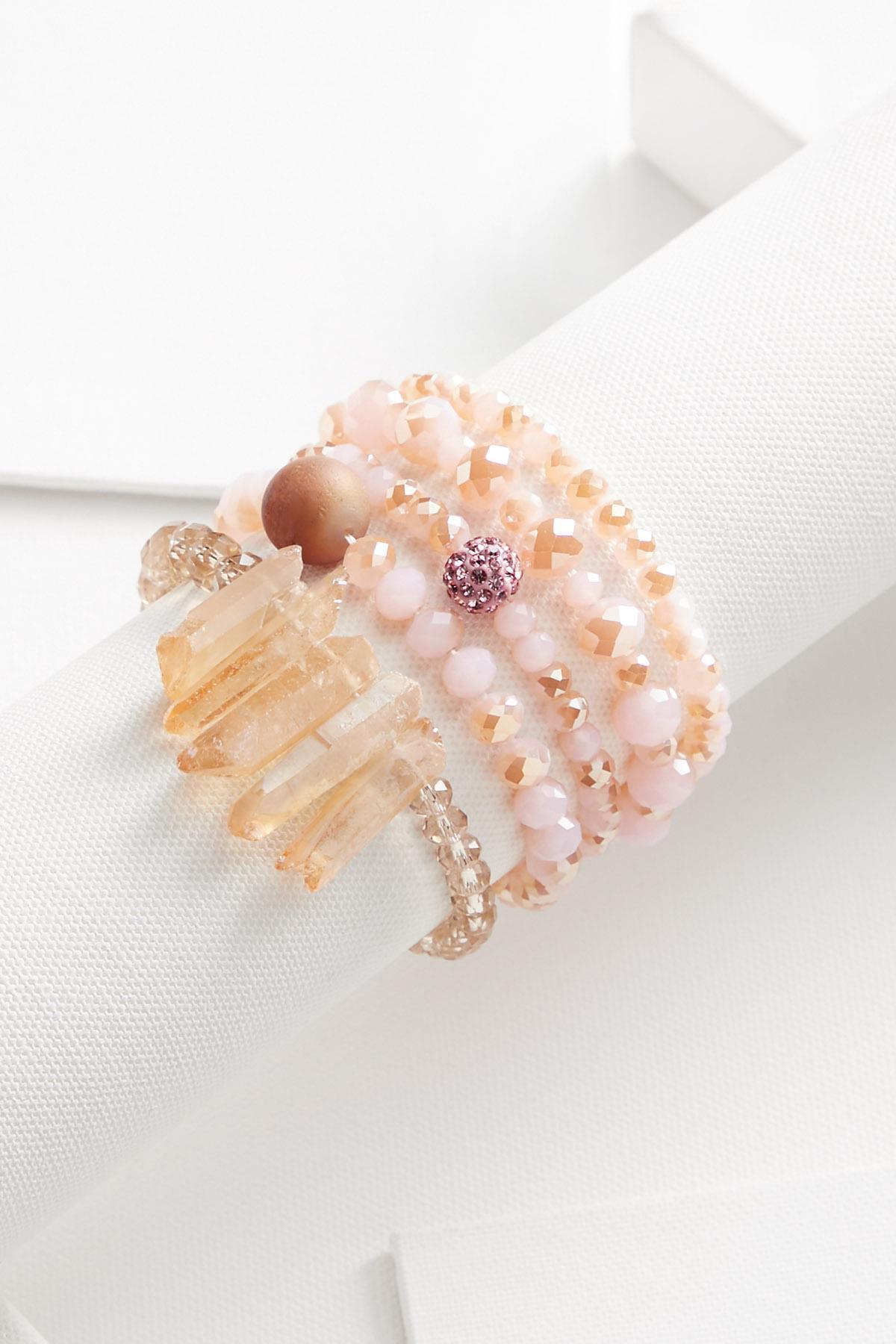 Pink Crystal Bracelet Set