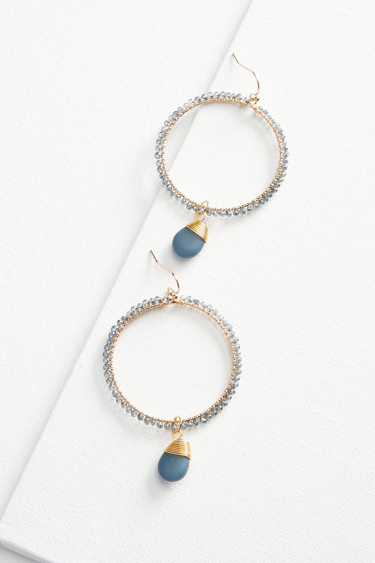 Crystal Charm Hoop Earrings