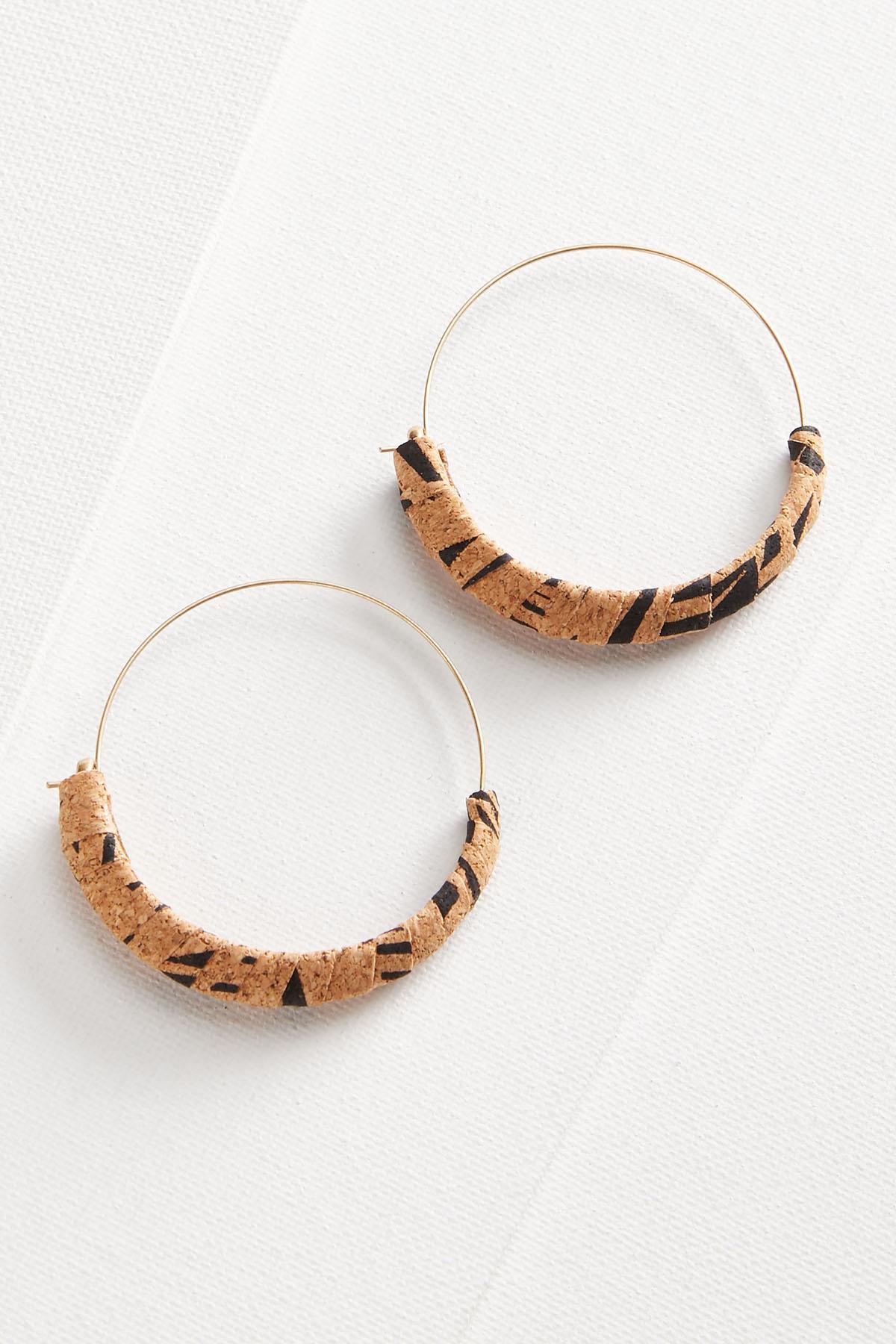 Cork Wrapped Hoop Earrings