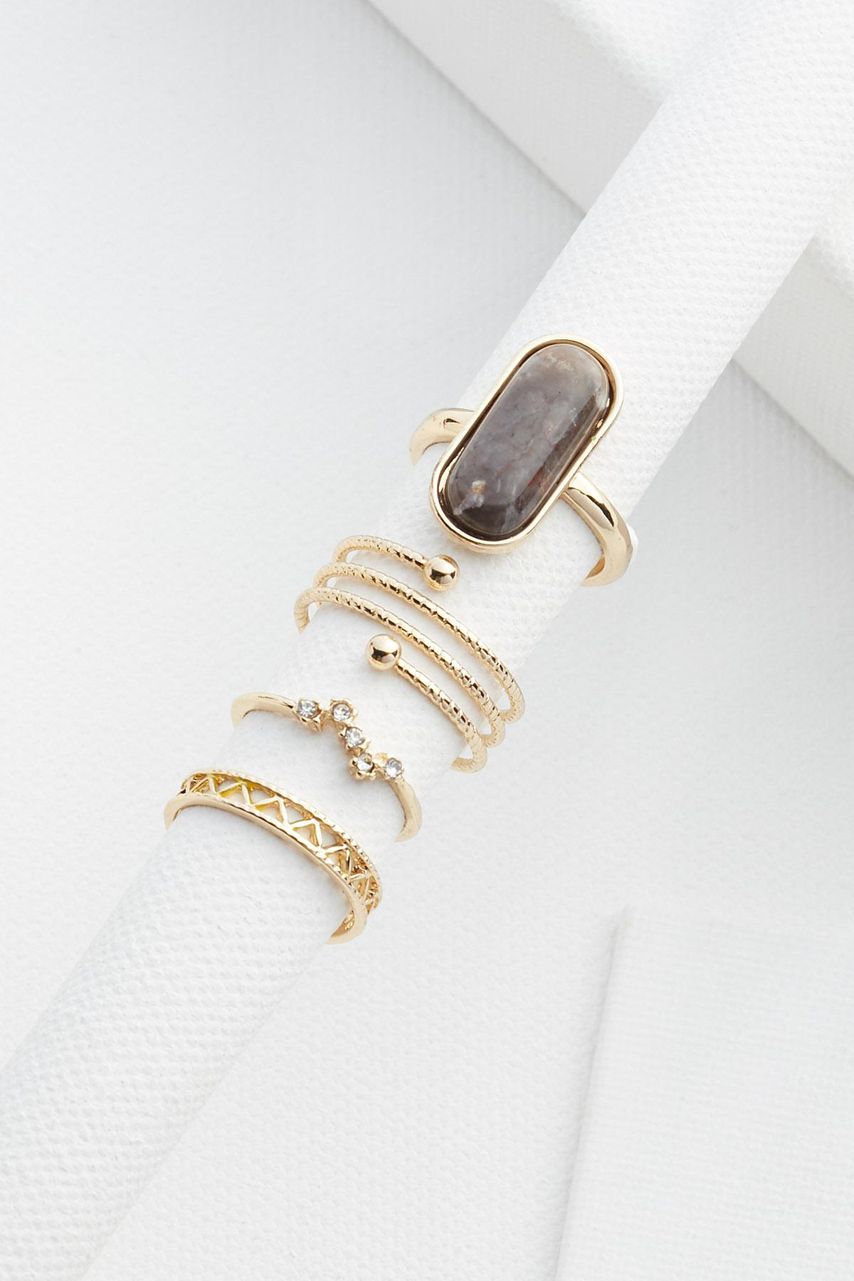 Stone And Gold Ring Set