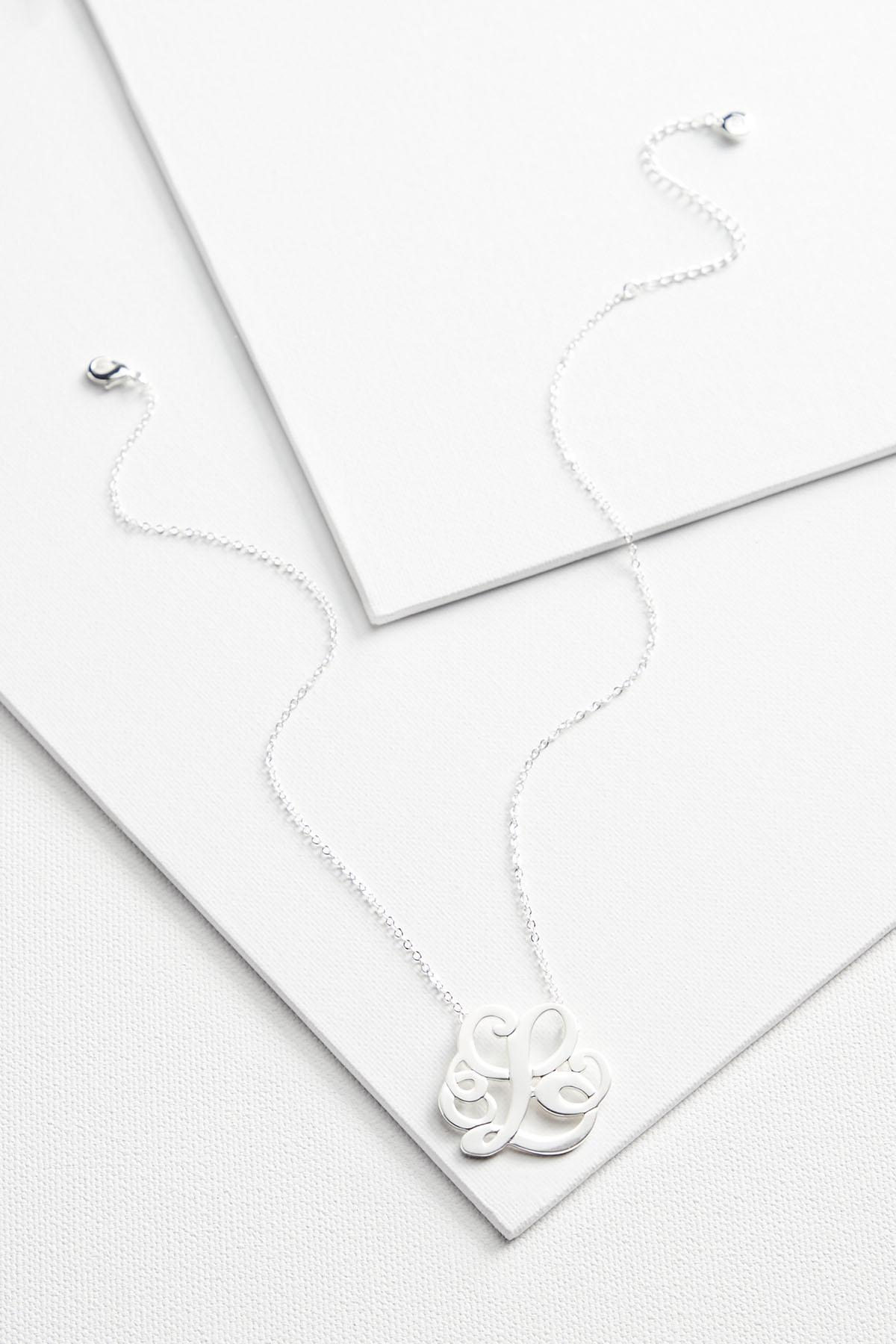 L Scroll Silver Necklace