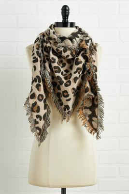 fuzzy leopard triangle scarf