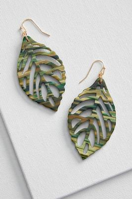 marbled lucite leaf earrings