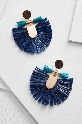 raffia fringe fan earrings