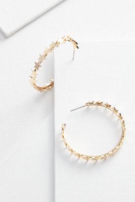 golden star hoop earrings