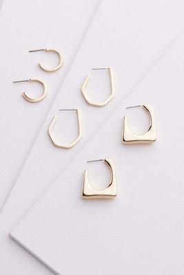 geo hoop earring set