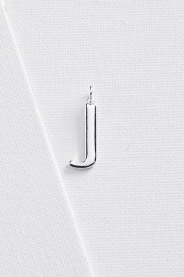 silver plated j initial charm