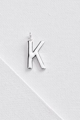 silver plated k initial charm