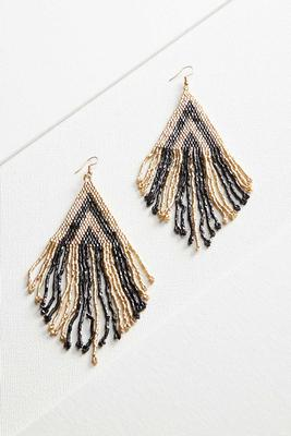 seed beaded fringe earrings