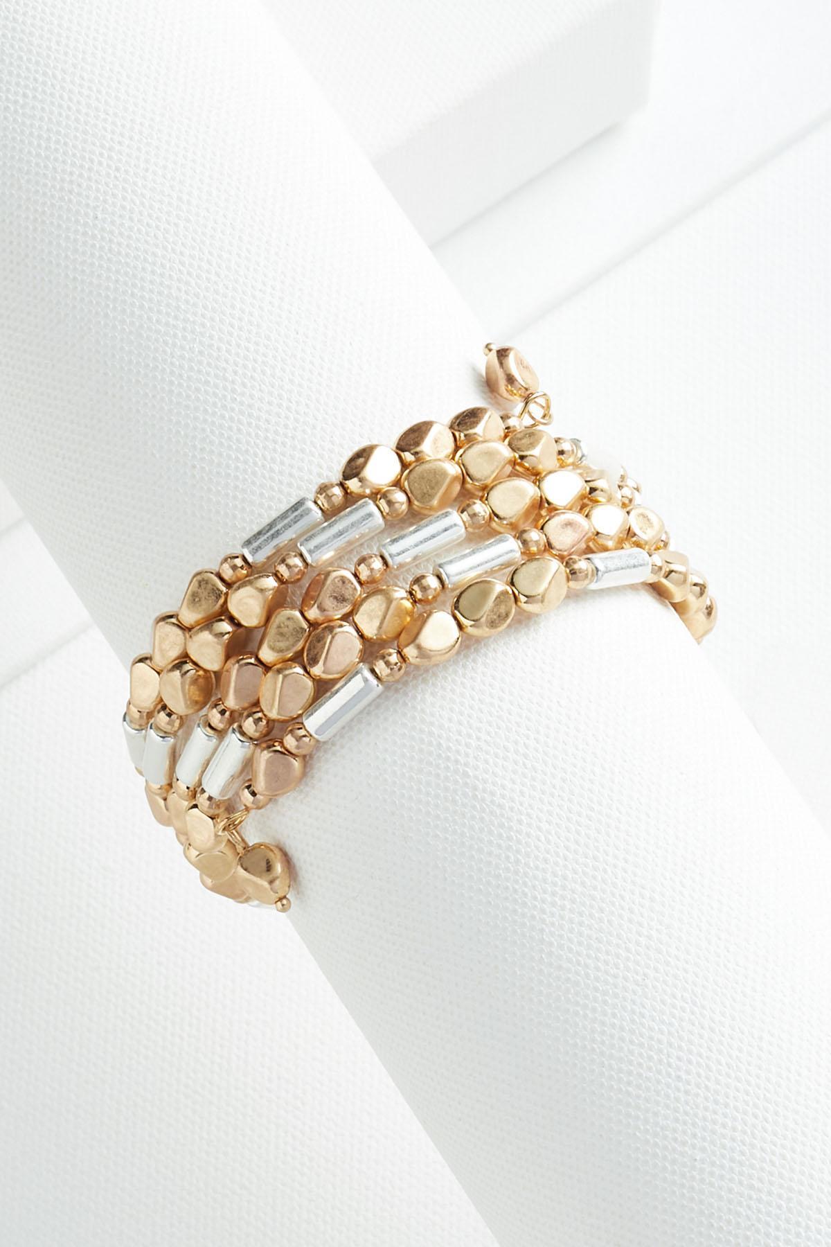 Beaded Golden Coil Bracelet