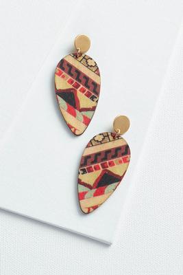 printed wooden earrings