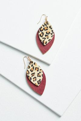 leather and leopard earrings