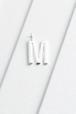 silver plated m initial charm
