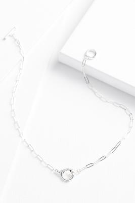 silver plated chain link necklace
