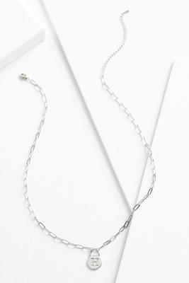 silver h necklace