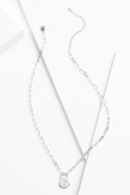 silver p necklace