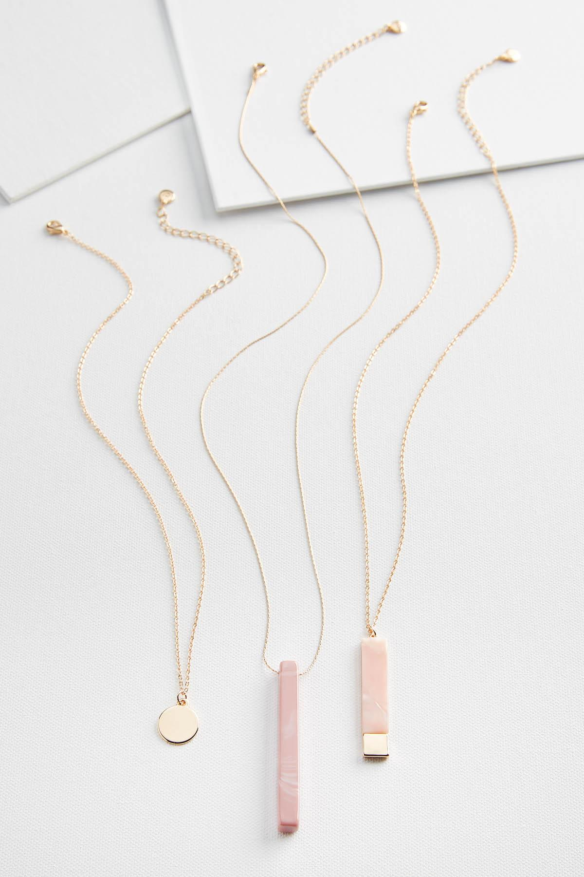 Layered Semi Precious Pendant Necklace Set