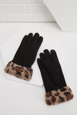 leopard trimmed glove