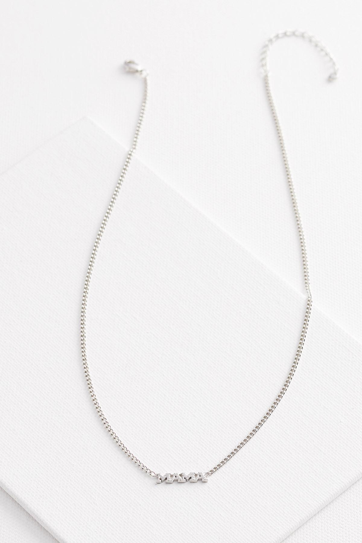 Silver Plated Mama Necklace