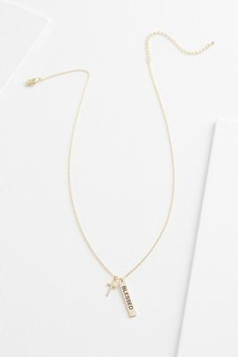 18k blessed cross necklace
