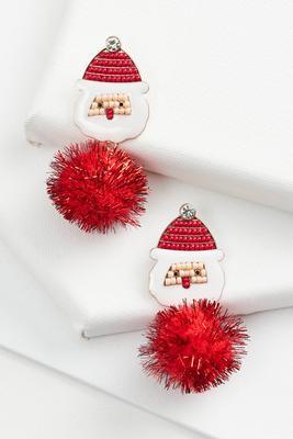 santa puff earrings