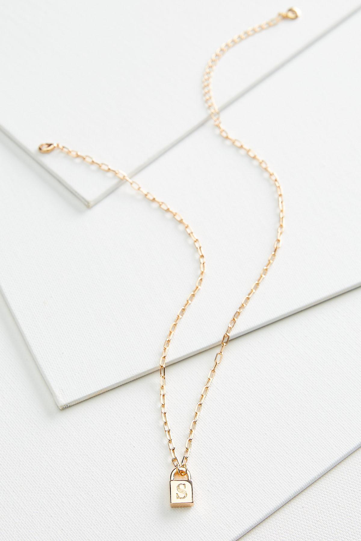 S Locket Pendant Necklace