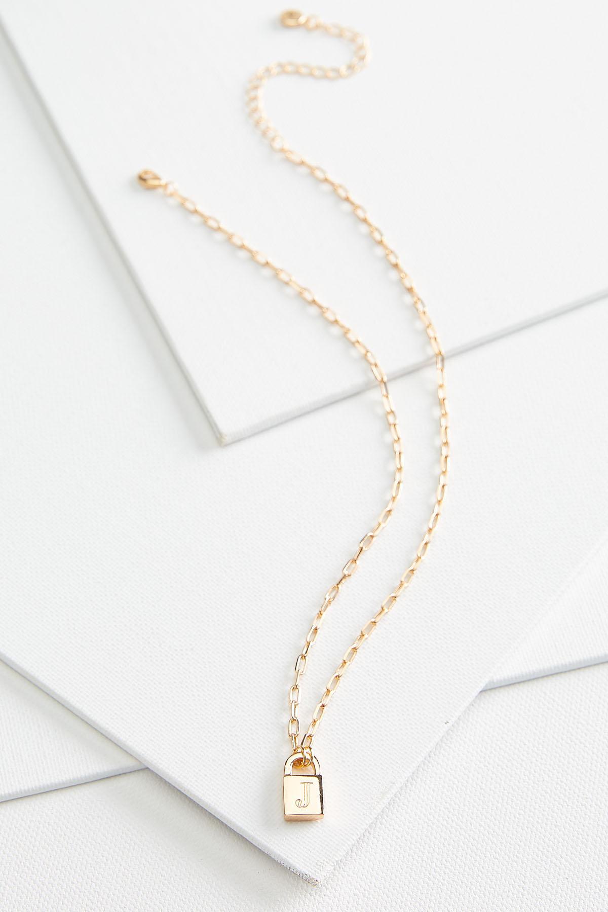 J Locket Pendant Necklace