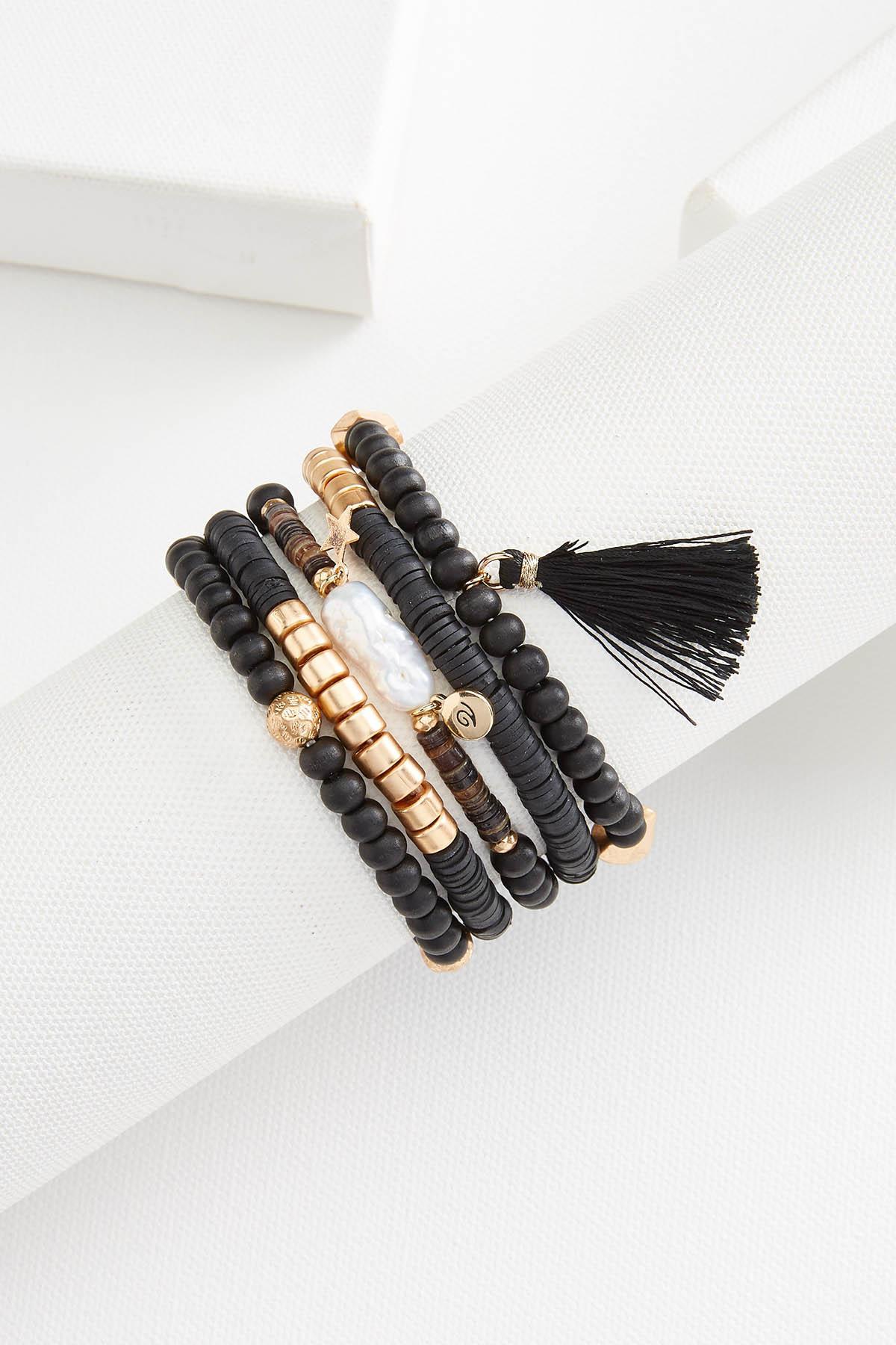 Wood And Rubber Bracelet Set